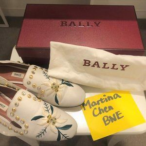 Bally Loafers floral-embroidered cream leather